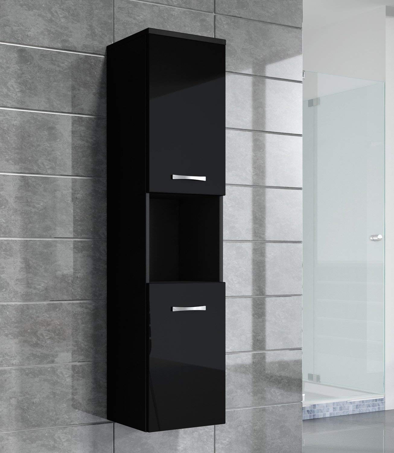 Badplaats Storage cabinet Montreal 131cm height black high gloss - Storage cabinet tall cupboard bathroom furniture