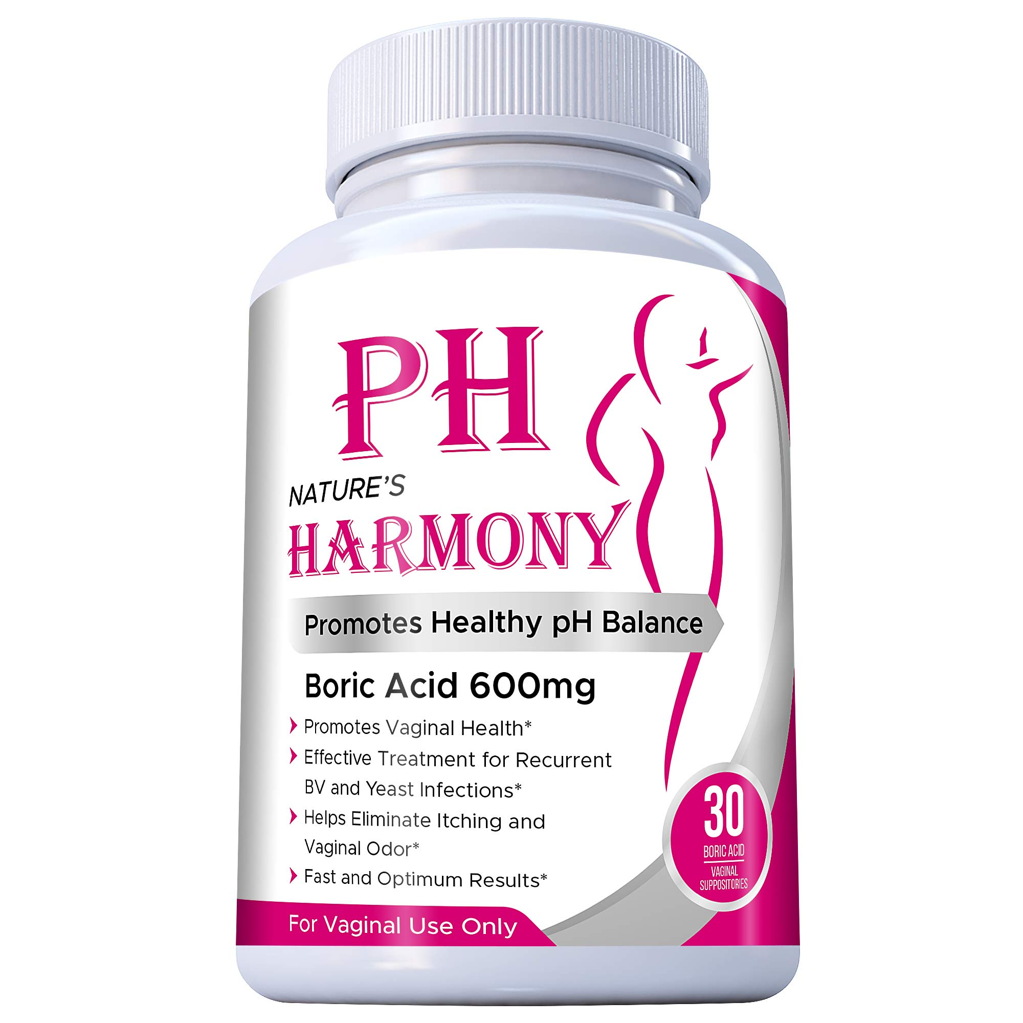 Boric Acid Suppositories Nature's Harmony 30 Count 600 mg 100% Pure Made in USA