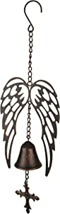 Mayrich Metal Art Angel Wings and Cross Wind Chime, Bronze