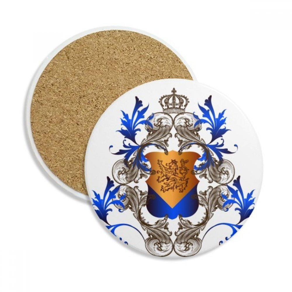 中世ヨーロッパの騎士クラウンエンブレムシールドストーンDrink Ceramicsコースターマグカップギフト用2ピース   B0761SRM8B