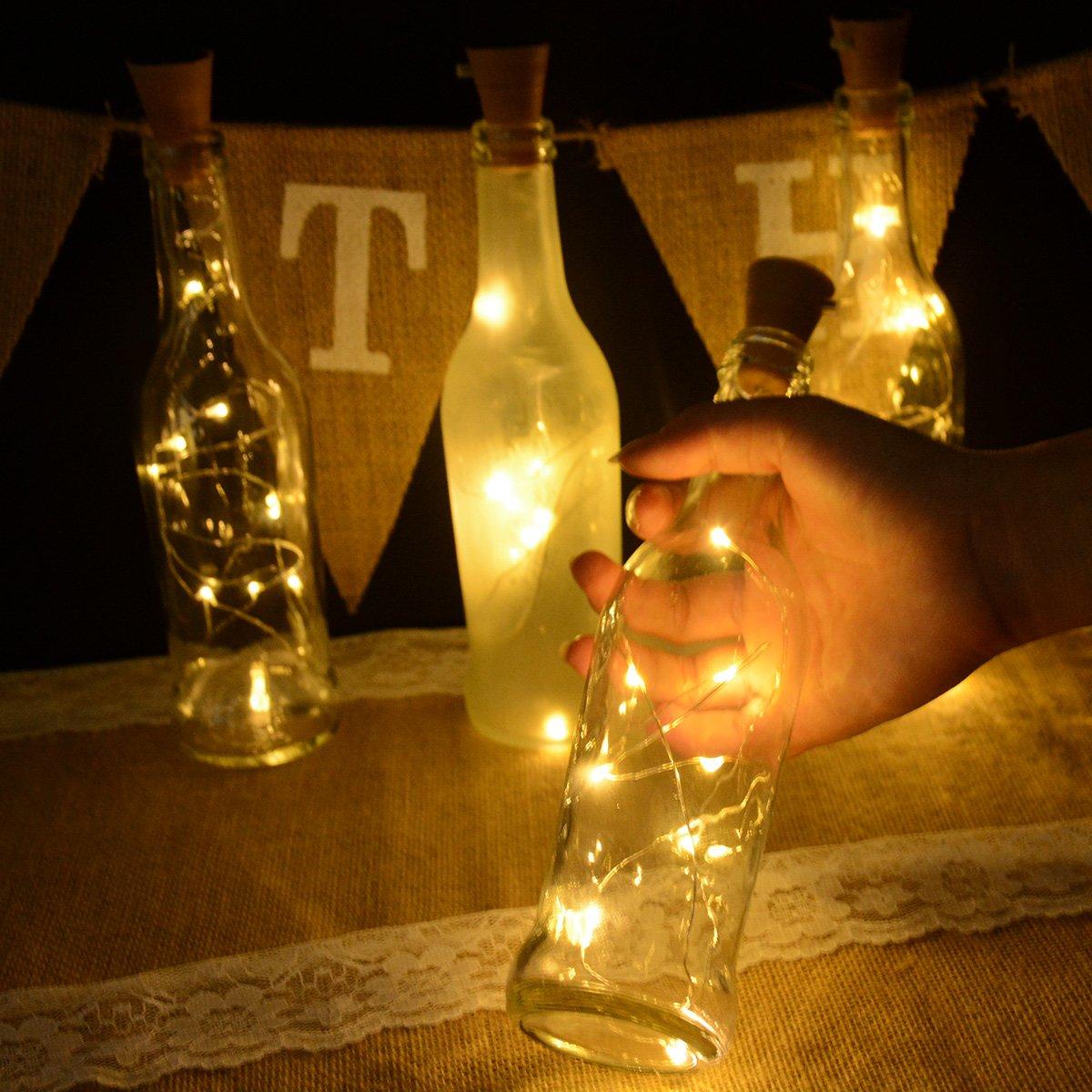 wine lighting. Abkshine 4 Pack Warm White Solar Cork Lights For Empty Wine Bottles, 10 LED Waterproof Glass Bottles Stopper String Wedding Christmas, Outdoor, Lighting