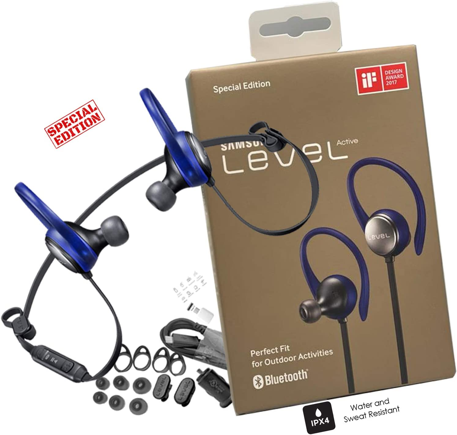 Amazon Com Samsung Level Active Bluetooth Wireless Fitness Earbuds Hd Premium Sound Sweat Splash Resistant With Car Charger 3ft Usb C Otg Us Retail Packing Kit Home Audio Theater