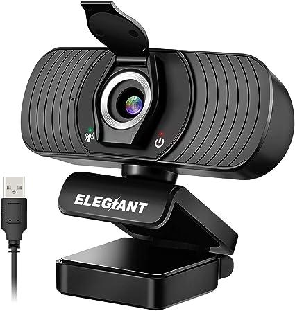 ELEGIANT Webcam Cámara Web 1080P HD PC Cámara de Ordenador con Micrófono y Cubierta de privacidad Cámara para Skype FaceTime Youtube Estudio en Línea Llamada PC para Juegos Ordenador Portátil: Amazon.es: Electrónica