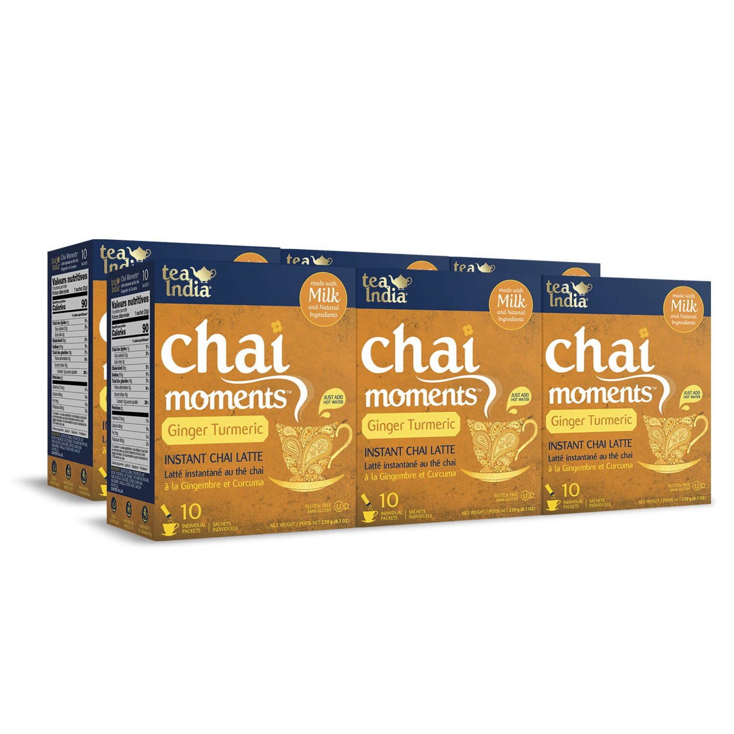 Tea India Chai Moments, Ginger Turmeric, Instant Chai Tea Latte, 10 Count (Pack of 6)