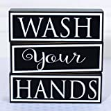 Adams and Co Wash Your Hands Wooden Sign | 3 Separate Stackable Wood Blocks | Perfect for Bathroom Decor