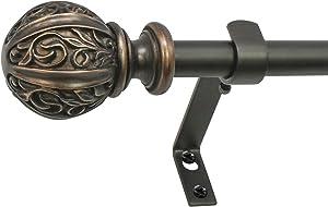 "Decopolitan Leaf Ball 5/8"" Curtain Rod Set, 26 to 48 Inches, Vintage Bronze"