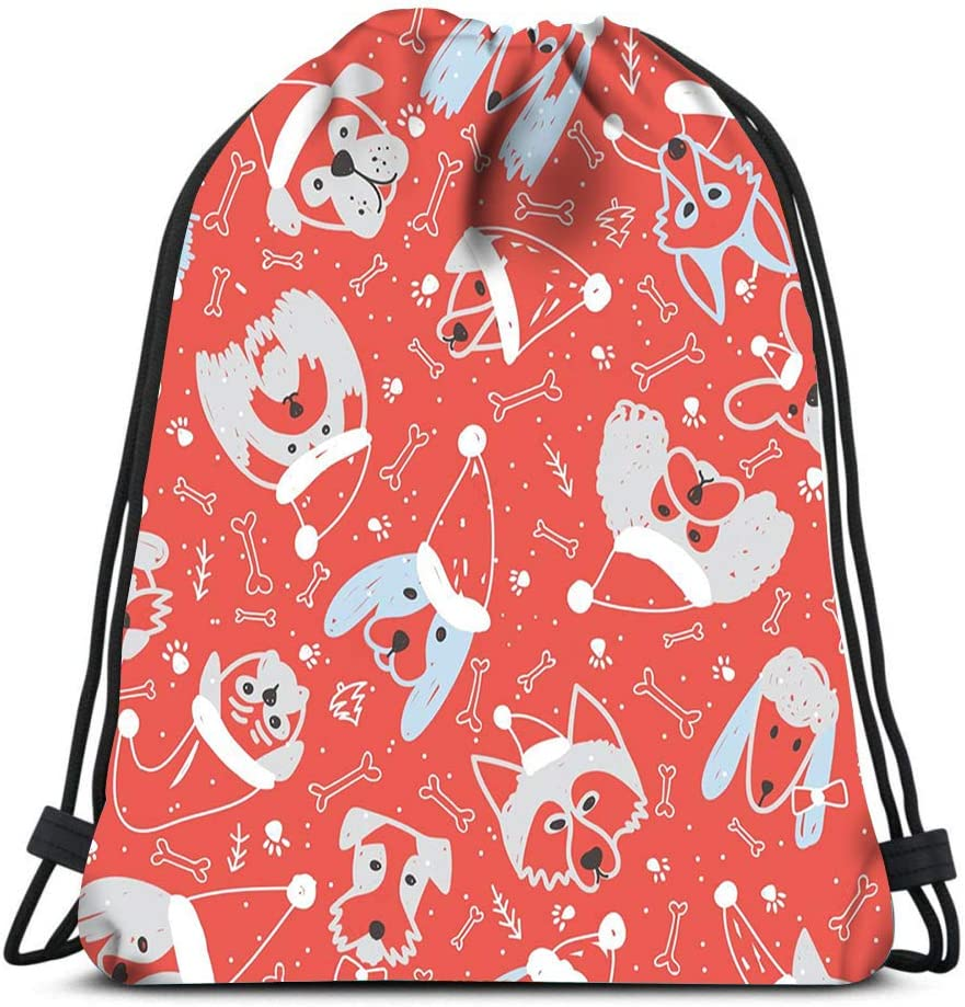 Drawstring Backpack Dogs In Santa Claus Hat Symbol On 2018 Chinese New Year Laundry Bag Gym Yoga Bag
