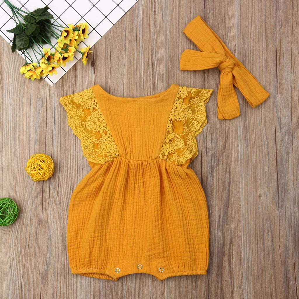 Shusuen Infant Newborn Baby Girl Romper Bodysuit Ruffle Bowknot One-Piece Jumpsuit Outfit Clothes Summer 0-18 Months