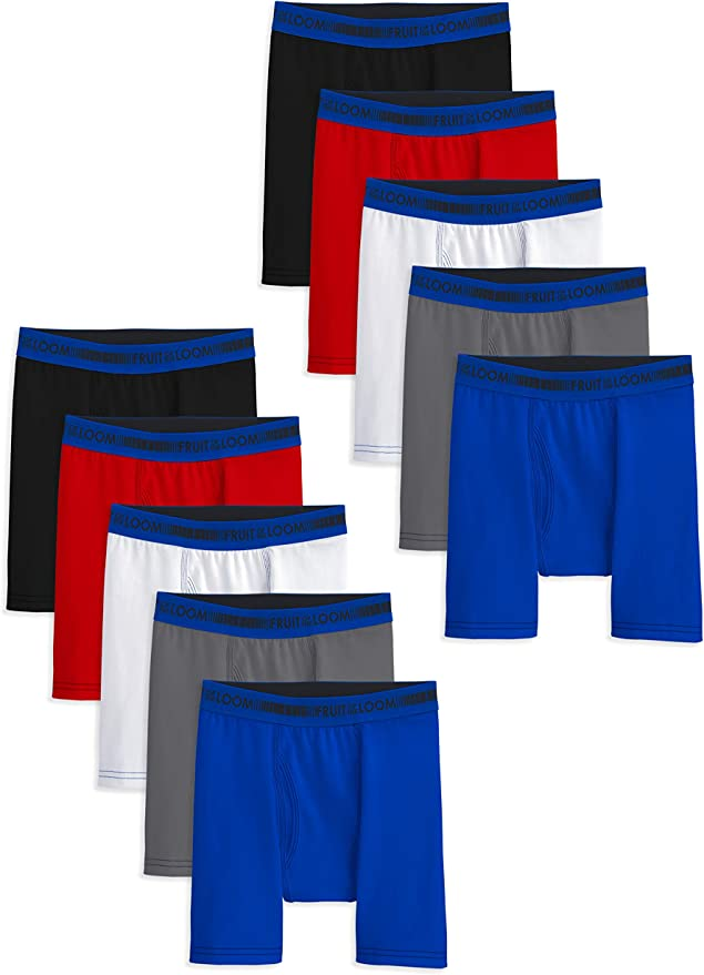 Fruit of the Loom Boys 10 Pack Moisture Wicking Sport Boxer Brief ...