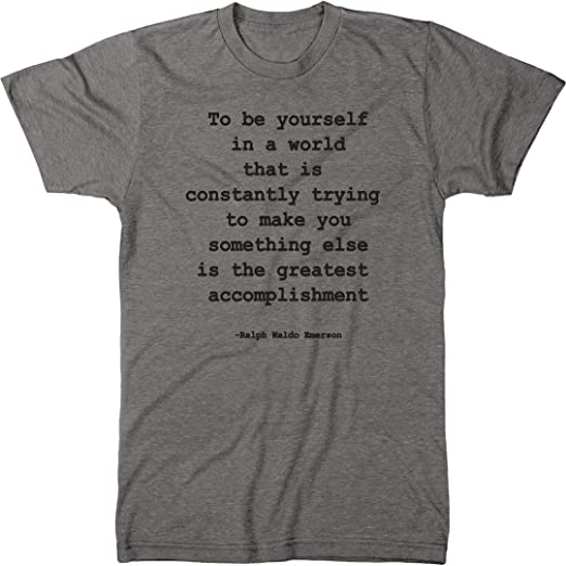 Amazoncom Ralph Waldo Emerson Self Reliance Quote Mens Modern Fit