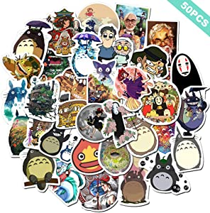 Miyazaki Hayao Anime Laptop Stickers (50pcs) My Neighbor Totoro No Face Man Spirited Away Anime Water Bottle Computer Travel Case Guitar Snowboard Luggage Car Bike Phone Graffiti Decal