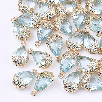 44pcs Jewelry Making Tibetan silver//Bronze Flower Charms Pendants Beads