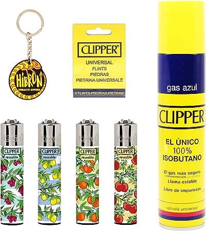 Image of Clipper 4 Mecheros Encendedores Diversos Surtidos Bonitos Baratos,1 Carga Gas Encendedor Clipper 300 Ml,9uds De Piedra Clipper Y 1 Llavero Hibron Gratis 1-10003-10