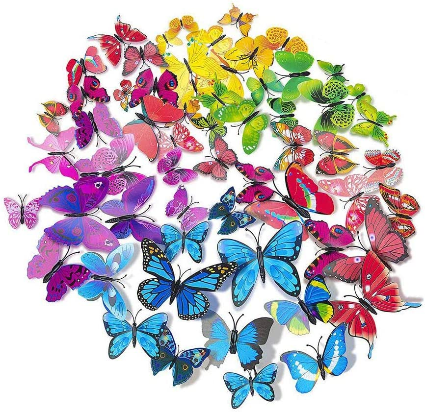 AKOAK 72 Pcs 3D Butterfly Wall Stickers, Single-Layer Wing Butterfly Art Decor Decals with Magnet and Double-Sided Adhesive for Room Home Nursery Decor (6 Colors)