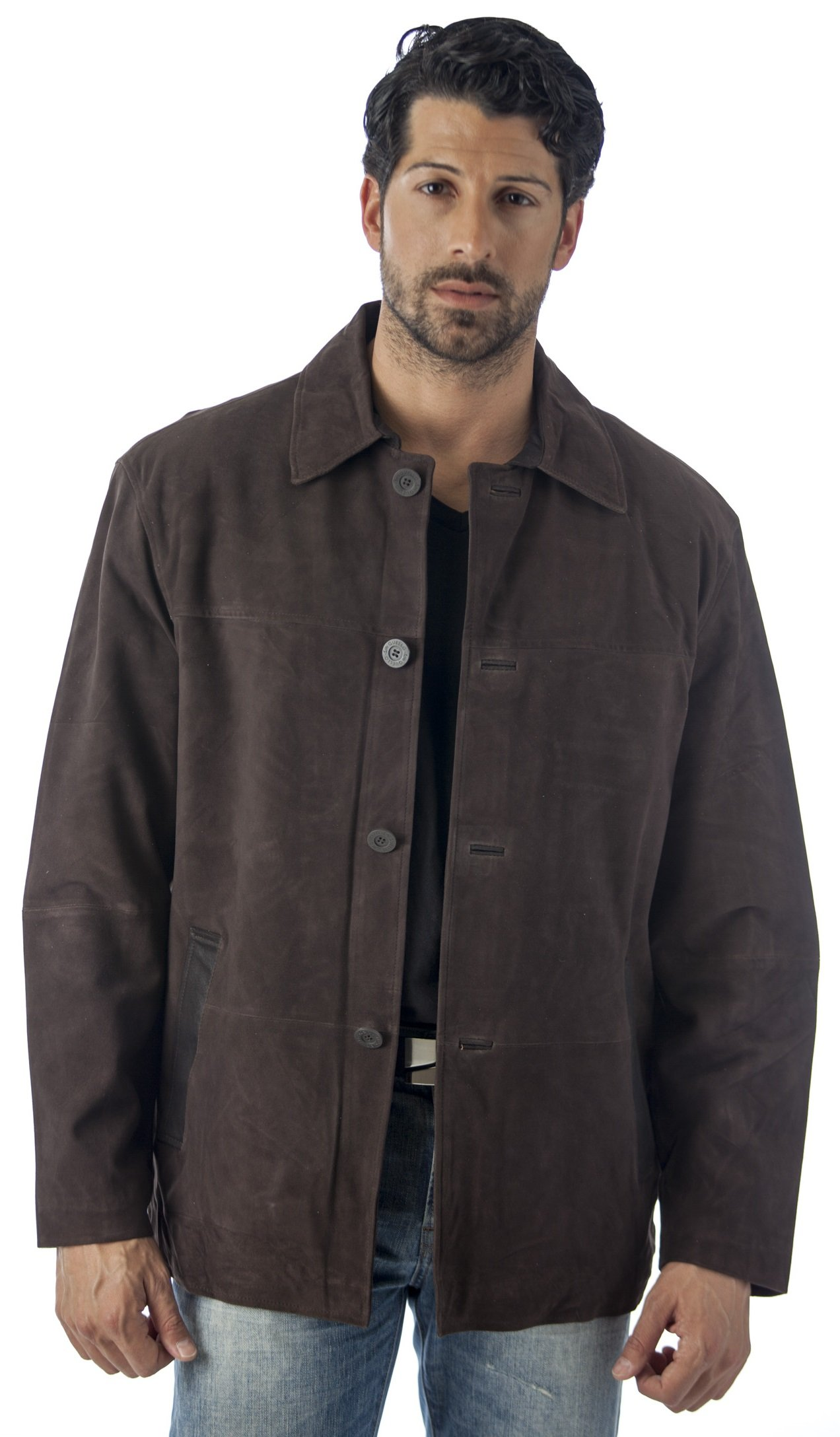Reed Men's Quello 4 Button Water Repellent Suede Leather Jacket (XL)