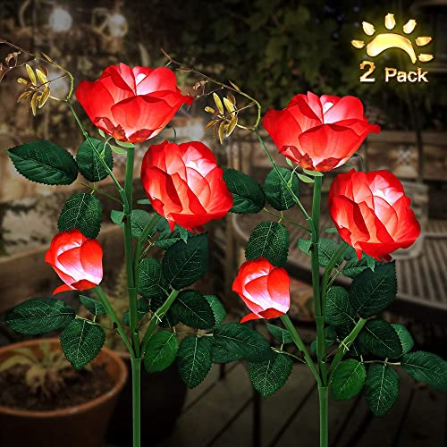Solar Garden Lights, Outdoor Solar Stake Lights, LEMBO DIRECT Upgraded 2 Pack Outdoor Waterproof LED Solar Powered Flower Stake Landscape Decor Lights 6 Roses for Garden, Patio, Yard, Lawn Red