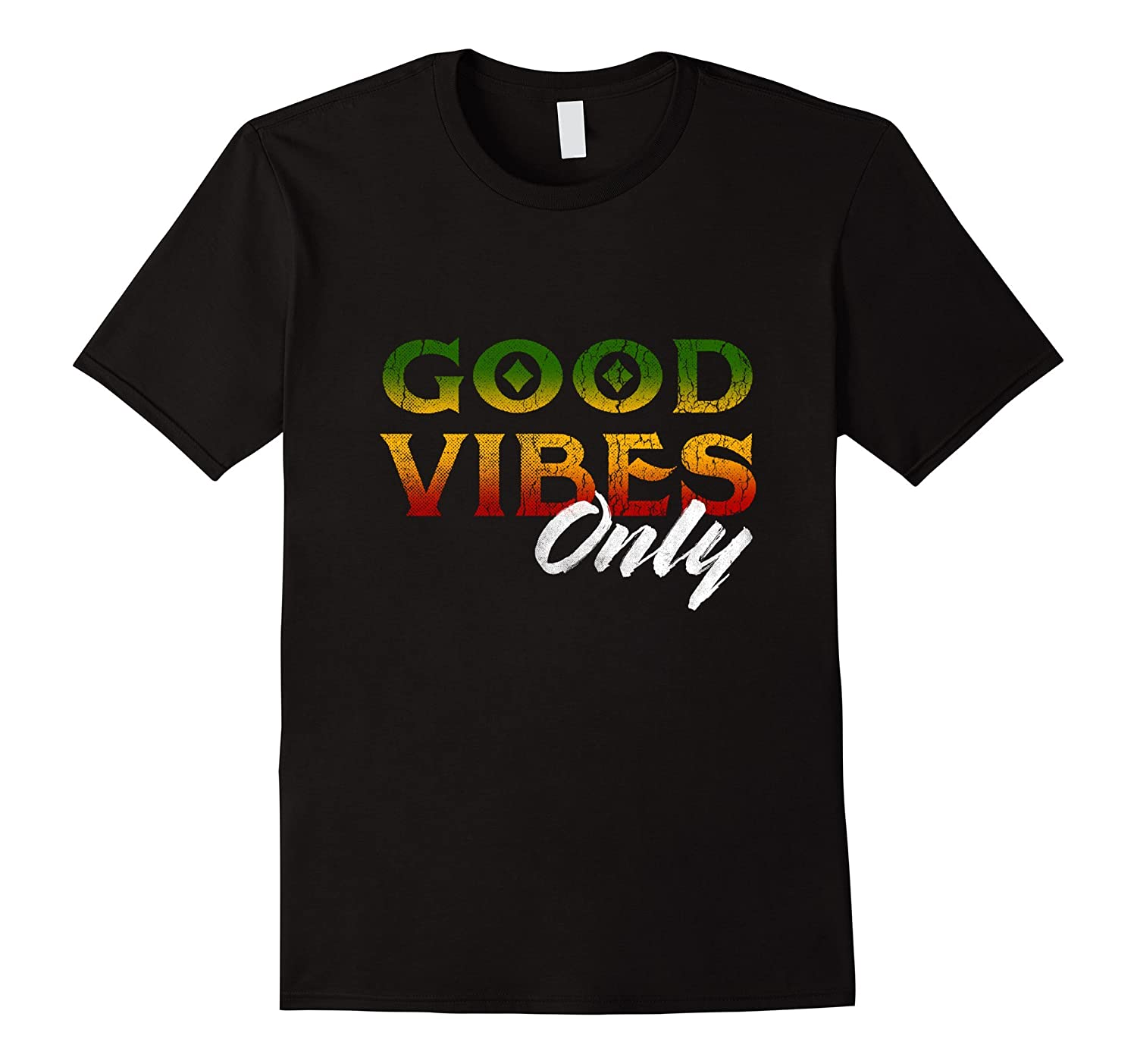 Good Vibes Only Rasta Reggae T Shirt Tee Peace One Love