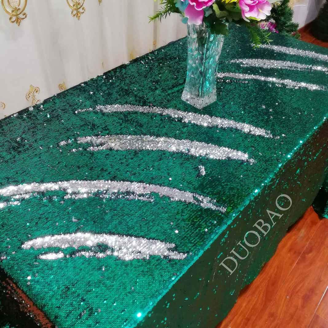 DUOBAO 72x108-Inch Rectangle Sequin Tablecloth Green to Silver Glitter Table Cloths Mermaid Sequin Table Cover for wedding/party/birthday-0612H