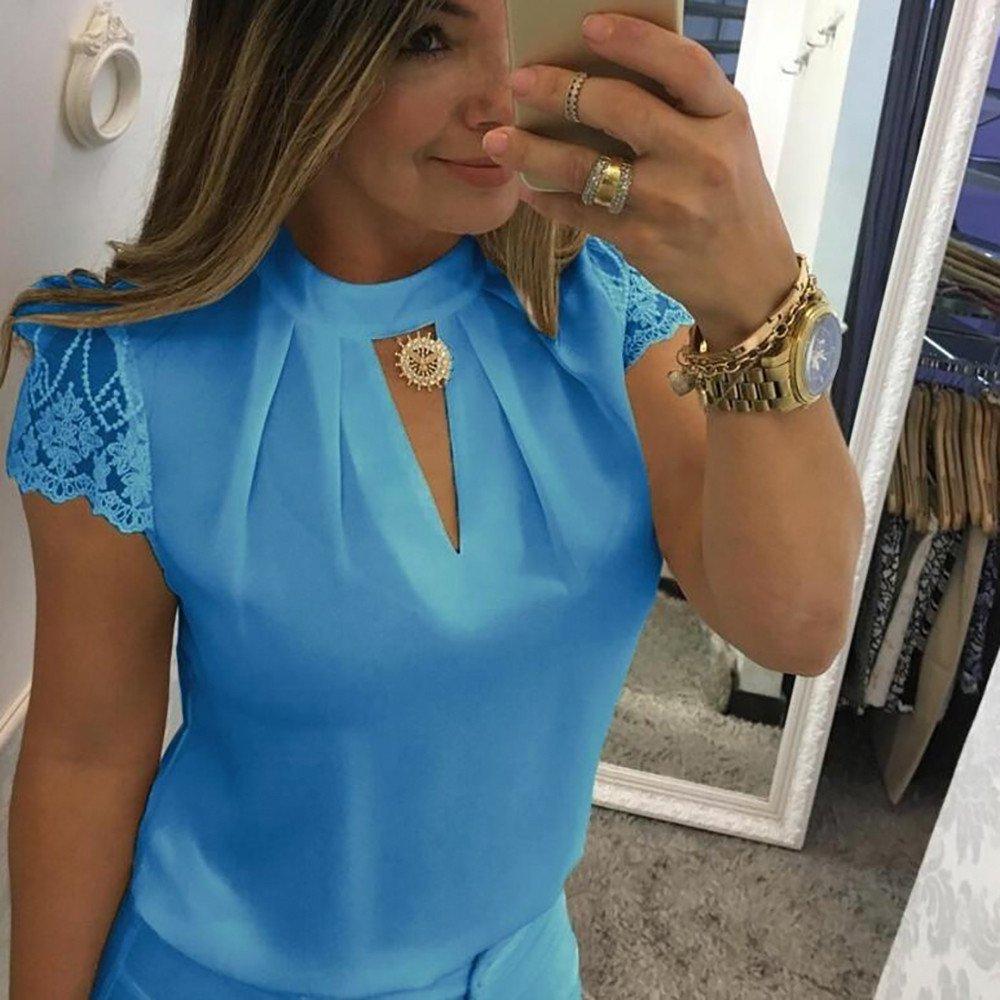 Amazon.com: Hongxin Hot Sale Women Tshirt Tops Elegant Hollow Out Chiffon Blouse Women Splice Lace Turtleneck Summer Blouse Shirt Casual Short Sleeve Blouse ...