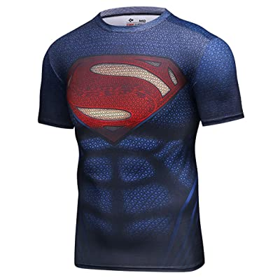 Red Plume Men's Compression Sports Tight Elastic Shirt Super Logo Training Gym Running Tee