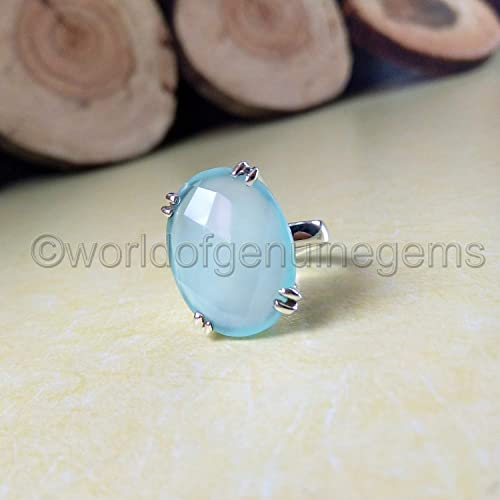 Amazon com: aqua chalcedony ring, 925 sterling silver, healing