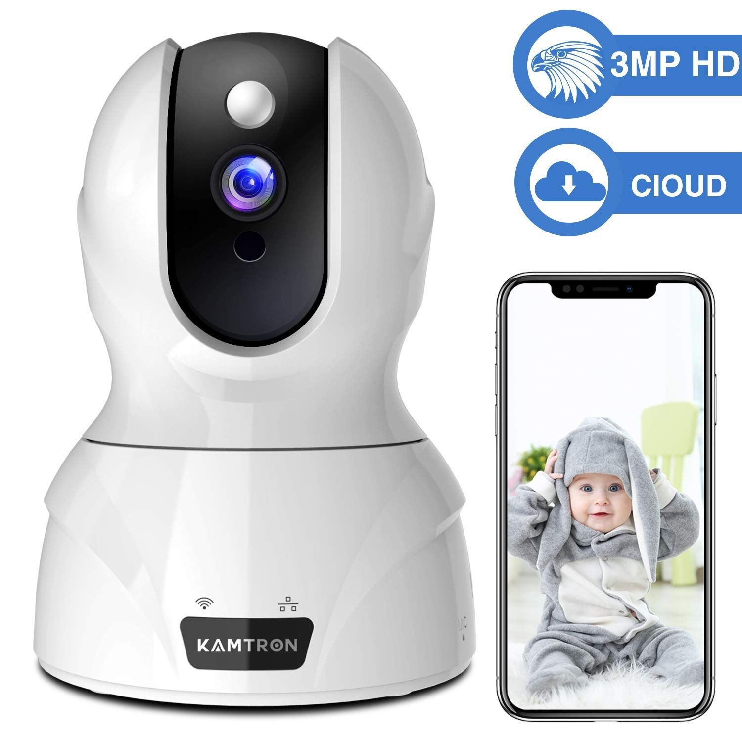 Security Camera 1536P Pet Camera – KAMTRON WiFi Wireless Home Camera Full HD 3MP IP Video Surveillance System with IR Night Vision, Motion Detection and Two-Way Audio – Cloud Storage, White