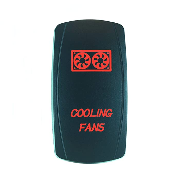 QUNQI STAR 5 pin Laser Backlit Rocker Switch COOLING FANS 20A 12V On/off LED Light Toggle Switch (Red)