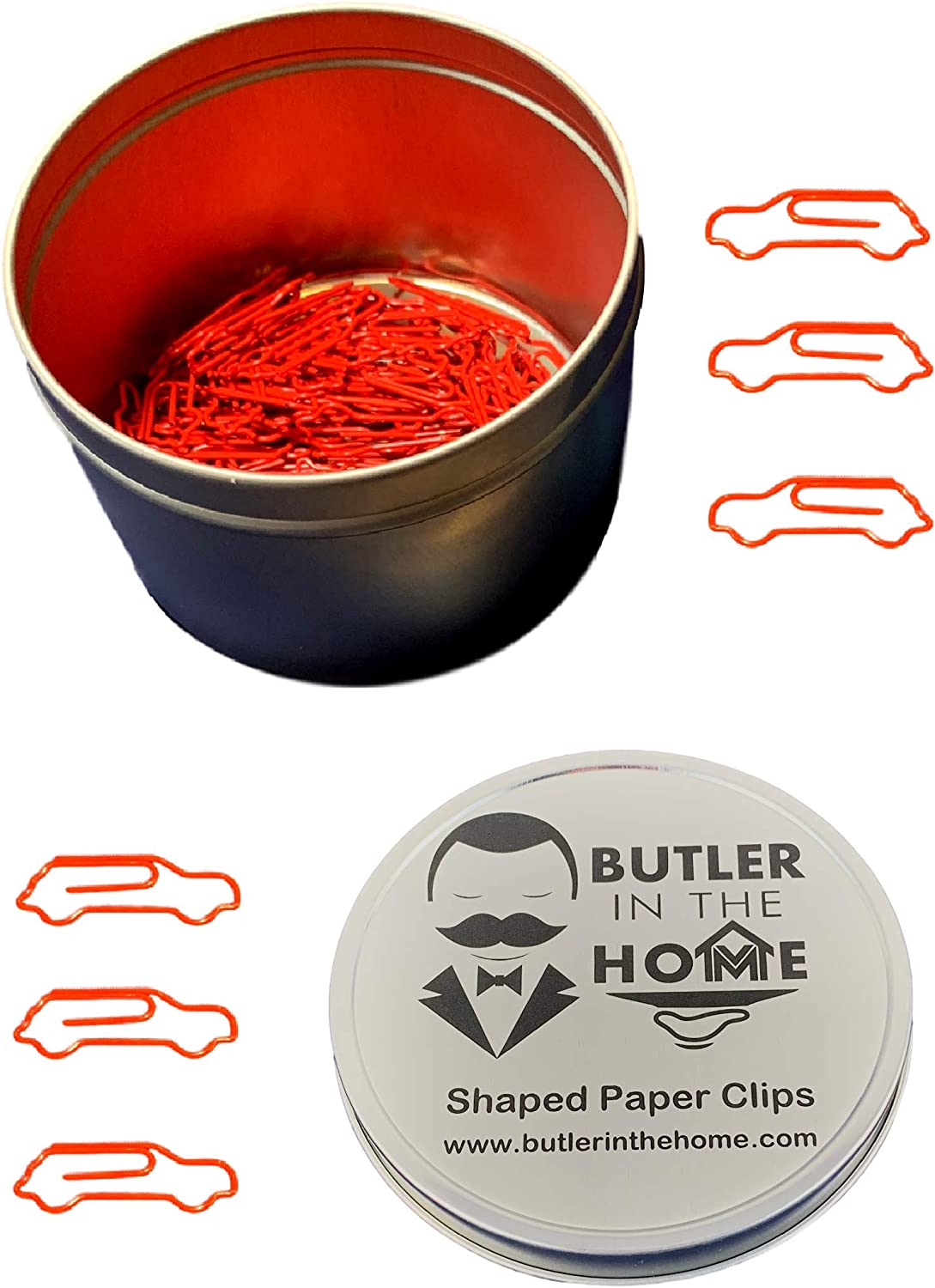 Butler in the Home Automobile Race Car Shaped Paper Clips Great for Paper Clip Collectors or Office Gift - Comes in Round Tin with Lid and Gift Box (100 Count Red)