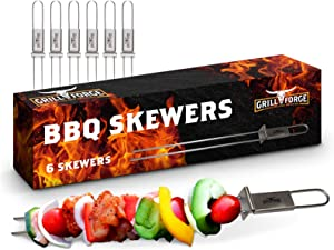 Skewers for Grilling-Metal BBQ Kabob Skewer Set of 6-Stainless Steel-Double Pronged Design is Easy for Cooking Meat, Vegetable & Fruit Shish Kabobs-Covenient Slider to Remove Your Food-Reusable!