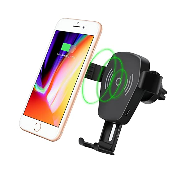 Wireless Car Charger Qi Wireless Charger Car Mount Gravity Phone Holder Compatible for Apple iPhone 8//8plus iPhone X Samsung Galaxy S8//S8+//Note 8//S7//S7 Edge and Other QI Enabled Devices