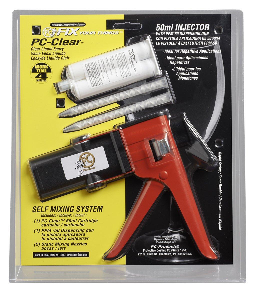 PC Products PC-Clear Epoxy Adhesive Liquid Kit, 50ml Cartridge & PPM-50 Dispensing Gun, Clear 75036