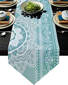 Cloud Dream Home Mandala Sacred Space Geometric Grey and Teal Table Runner for Morden Greenery Garden Wedding Party Table Setting Decorations 16x72 Inches