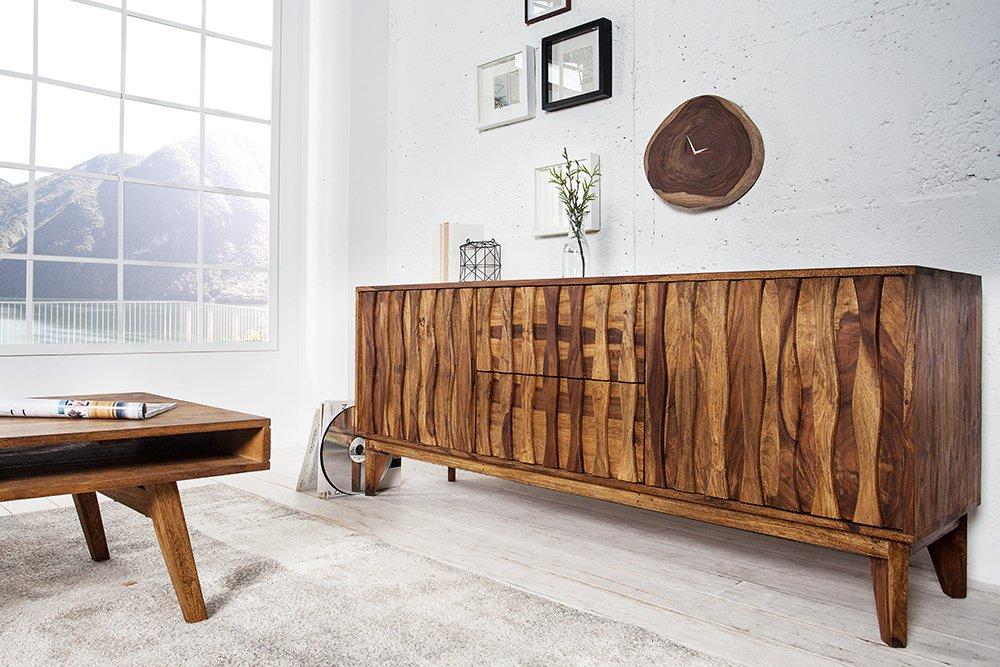 Design Sideboard Retro 170cm Sheesham Stone Finish Design Klassiker