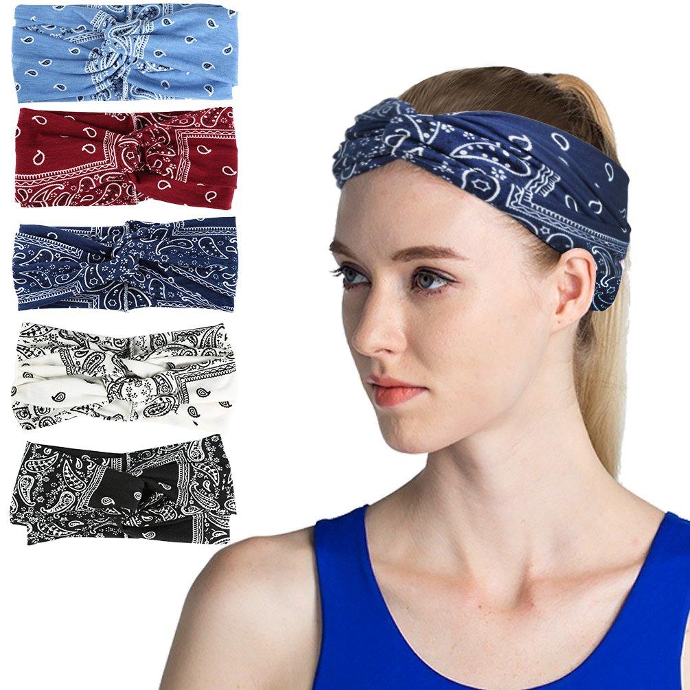VBIGER 6 Pack Women Headband Criss Cross Head Wrap Hair Band Stretchy Headwraps Yoga Running Sports Hairband for Women (Set 6 (5 Pack))