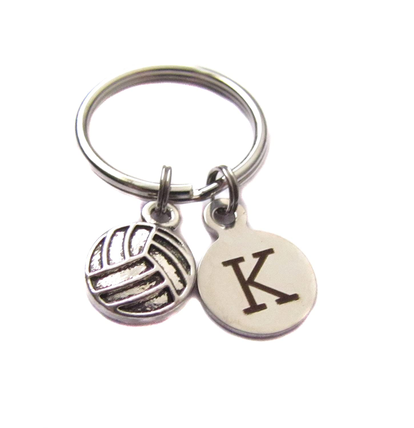 Custom Volleyball, Initial Letter Charm, Keychain, Sports Bag Charm Player Mom Gift