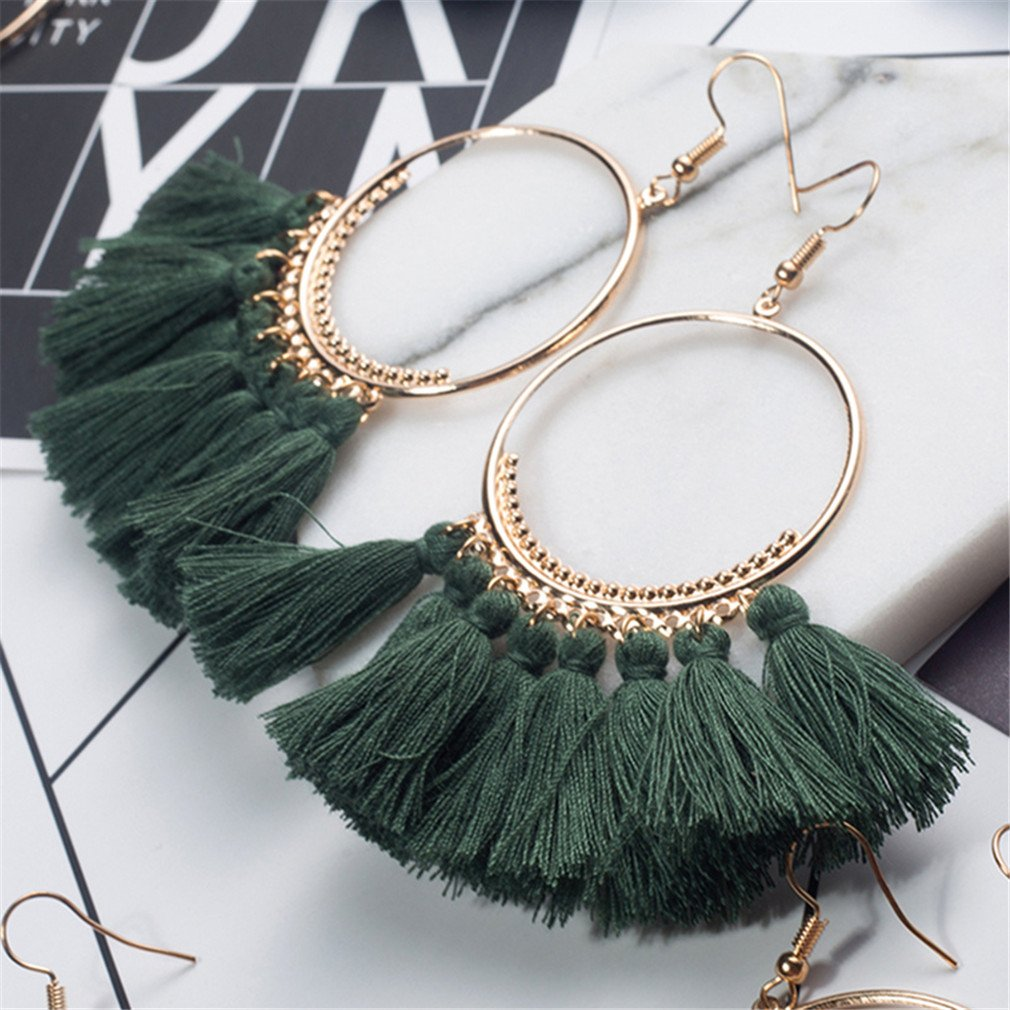 Bohemian Ethnic Fringed Tassel Earrings Women Golden Round Circle Ring Hanging Drop Earrings Jewelry White by DARLING HER (Image #7)