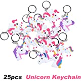 Rainbow Unicorn Party Favor Keychain Pack, Goody Bag Toys, 25pcs