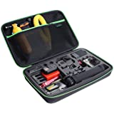 Large Carrying Case for GoPro Hero(2018),Hero 7 Black,HERO6,5,4, LCD, Black, 3+, 3, 2 and Accessories by HSU with Carry Handle and Carabiner Loop - Portable and Shock(Green Logo)