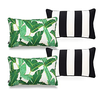 Awesome Hofdeco Tropical Indoor Outdoor Indoor Outdoor Pillow Cover Only Uv Mold Water Resistant For Patio Lounge Sofa Green Banana Leaf Black White Frankydiablos Diy Chair Ideas Frankydiabloscom