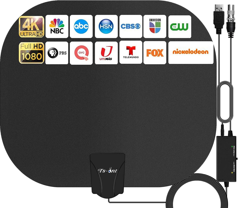 TS-ant Antena de TV Interior, Oval Negro Antena de TV Digital para Interiores de Alcance de 240KM con Amplificador Inteligente de Señal, Adecuada para Canales de TV Gratis 1080P 4K,Cable Coaxial de 5M