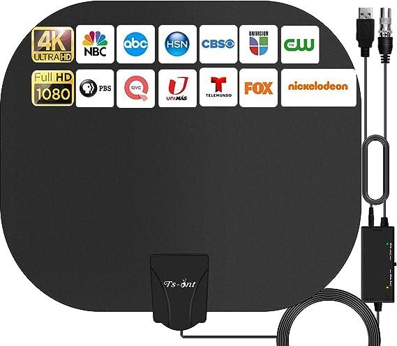 TS-ant Antena de TV Interior, Oval Negro Antena de TV Digital para Interiores de Alcance de 240KM con Amplificador Inteligente de Señal, Adecuada para Canales de TV Gratis 1080P 4K,Cable Coaxial de
