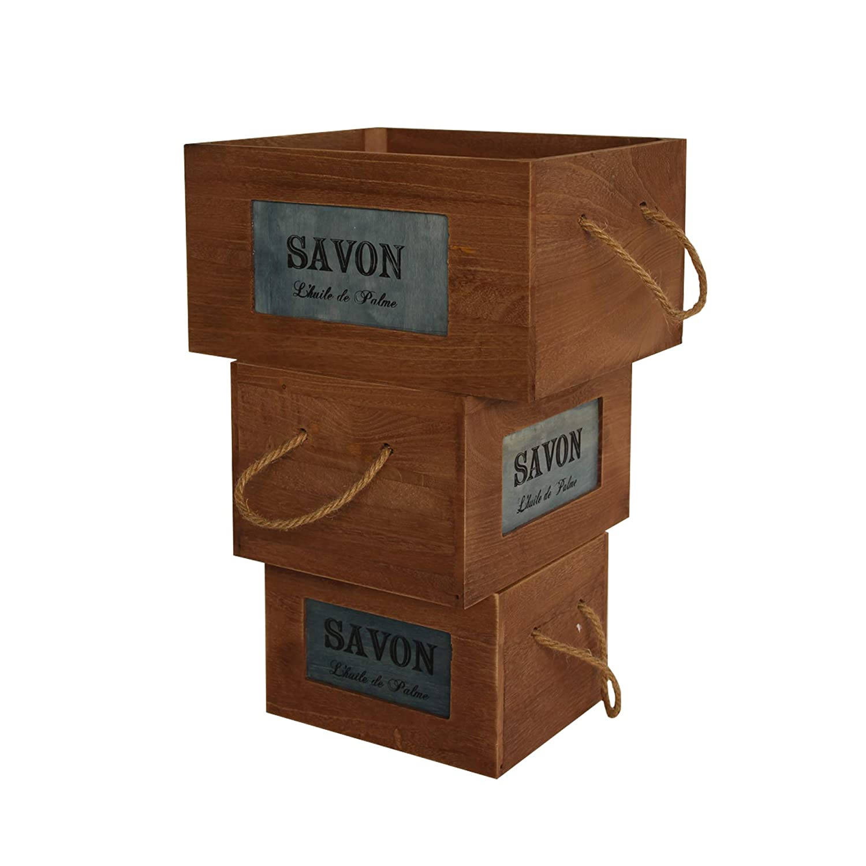 Rebecca Mobili 3er Set Aufbewahrungsboxen Holzkisten Behälter Holz Braun Griffe Design Shabby Geschenk (Cod. RE6111) Rebecca Srl