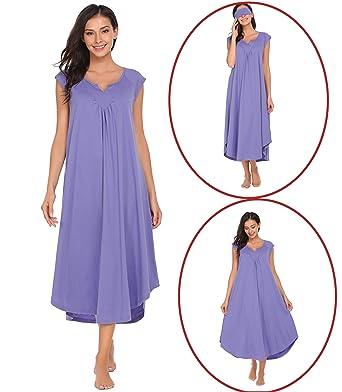 5e65d6a6f7 Adidome Long Victorian Nightdress Womens Cotton V-Neck Short Sleeve ...