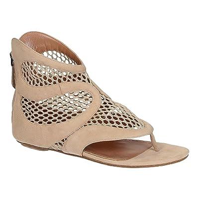 Alaïa sandalias de tiras planas en piel de ante color beige - Número de modelo: 4E3Y643CC59