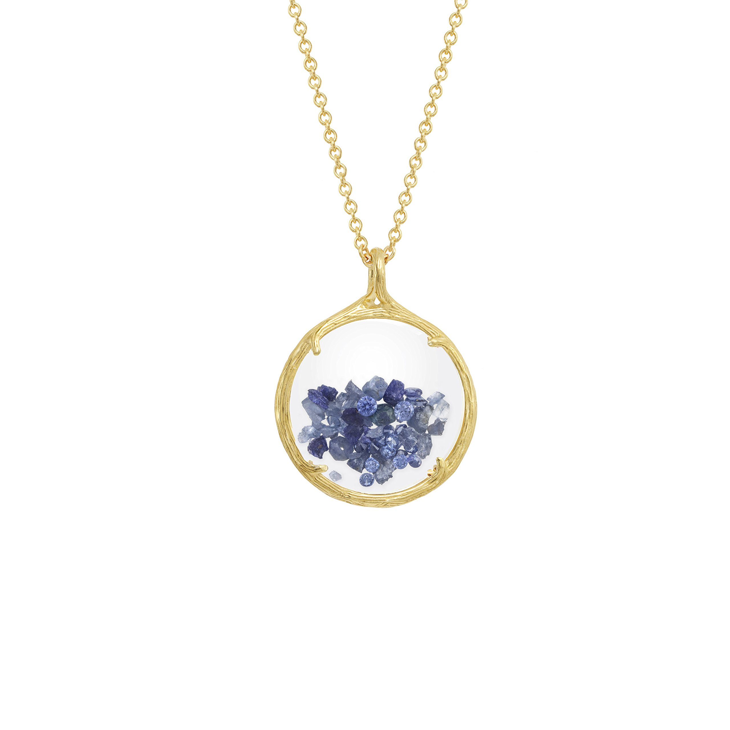 Birthstone shaker floating crystal stone Necklace (September Sapphire) by Catherine Weitzman