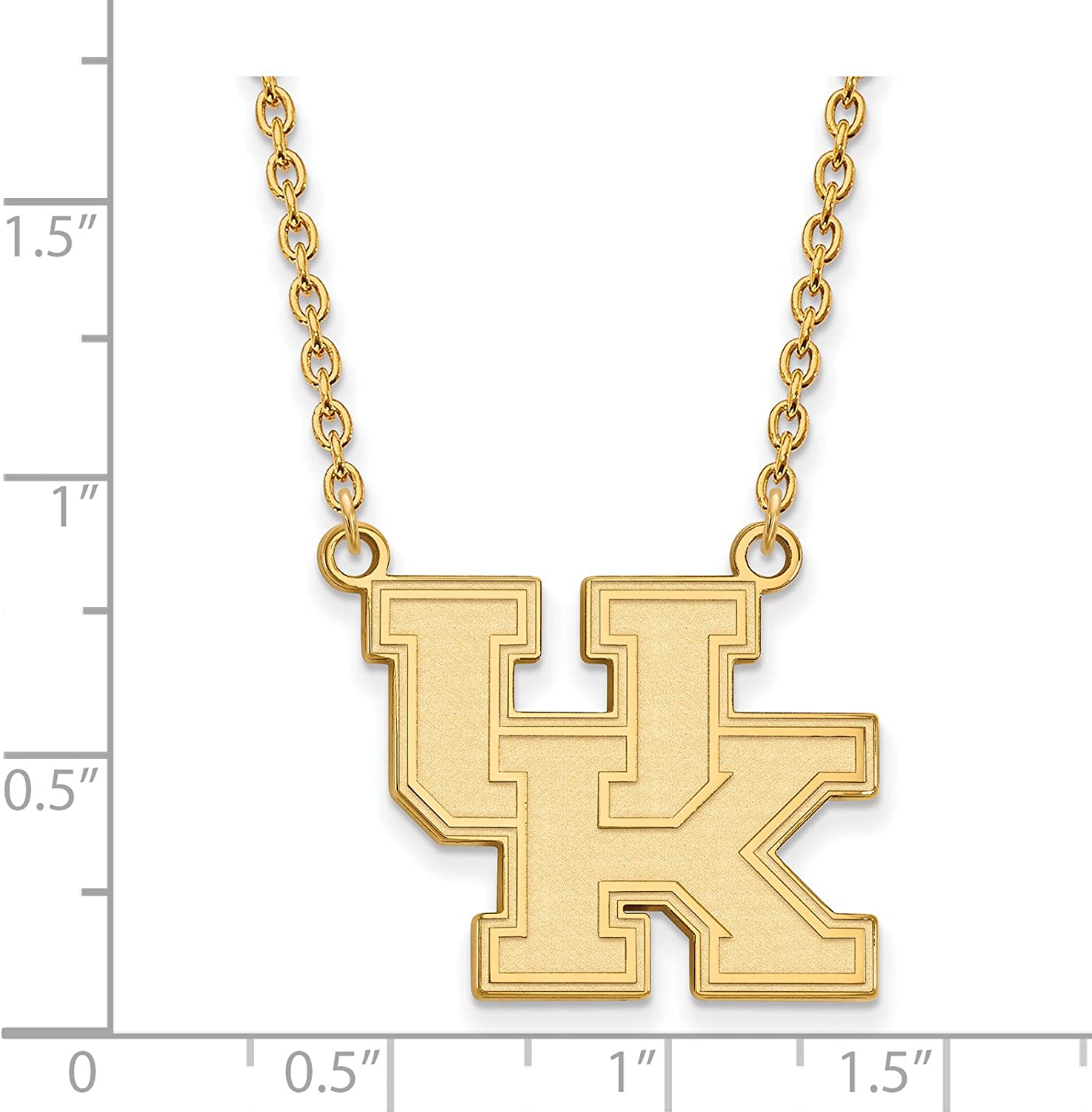Kentucky Wildcats School Letters Logo Pendant Necklace Gold Plated Silver 20x23mm 18 Inches
