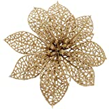 Crazy Night (Pack of 10) Glitter Gold Poinsettia Christmas Tree Ornaments (Gold)