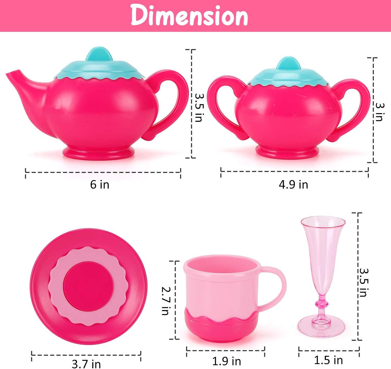 Liberty Imports Princess Tea Party Set with Pretend Play Pink Tea Pots and Kitchen Utensils 29 pcs