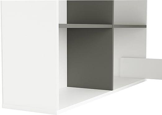 111.9 x 100.7 x 77 cm Pearl White//Grey Nobilitato Demeyere Socrate B01 Scrivania angolare