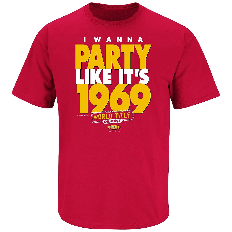 I Wanna Party Like Its 1969 Red T Shirt Sm-5X Smack Apparel Kansas City Football Fans